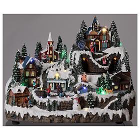 Ambientazione natalizia con treno bimbi movimento 30x40x30 cm s2