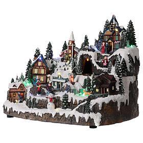 Ambientazione natalizia con treno bimbi movimento 30x40x30 cm s3