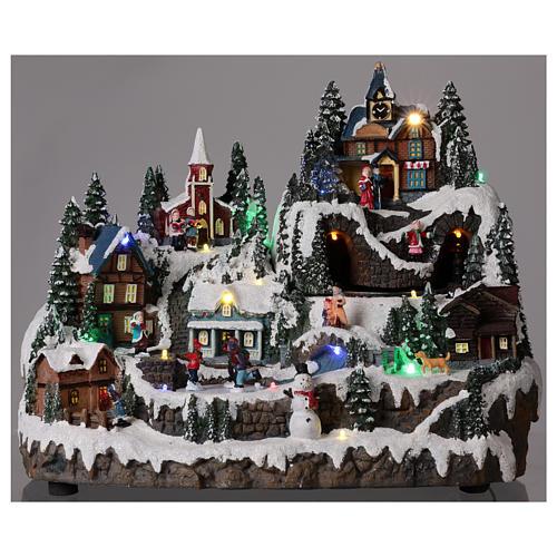 Ambientazione natalizia con treno bimbi movimento 30x40x30 cm 2