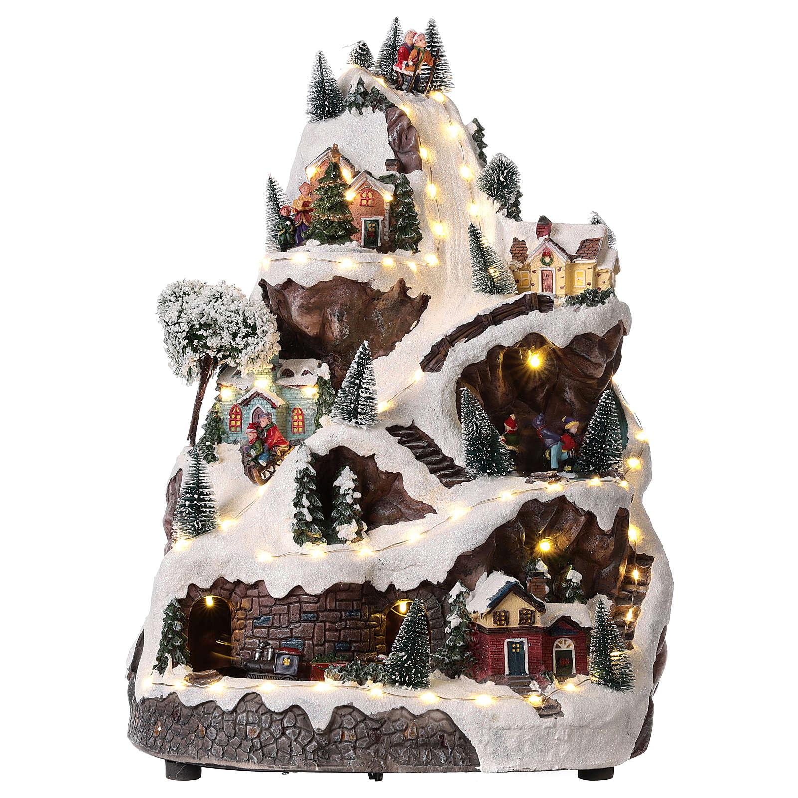Pueblo navideño montaña iluminado con música 45x30x30 cm 3