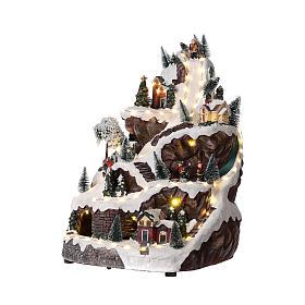 Villaggio natalizio montagna illuminato con musica 45x30x30 cm s3