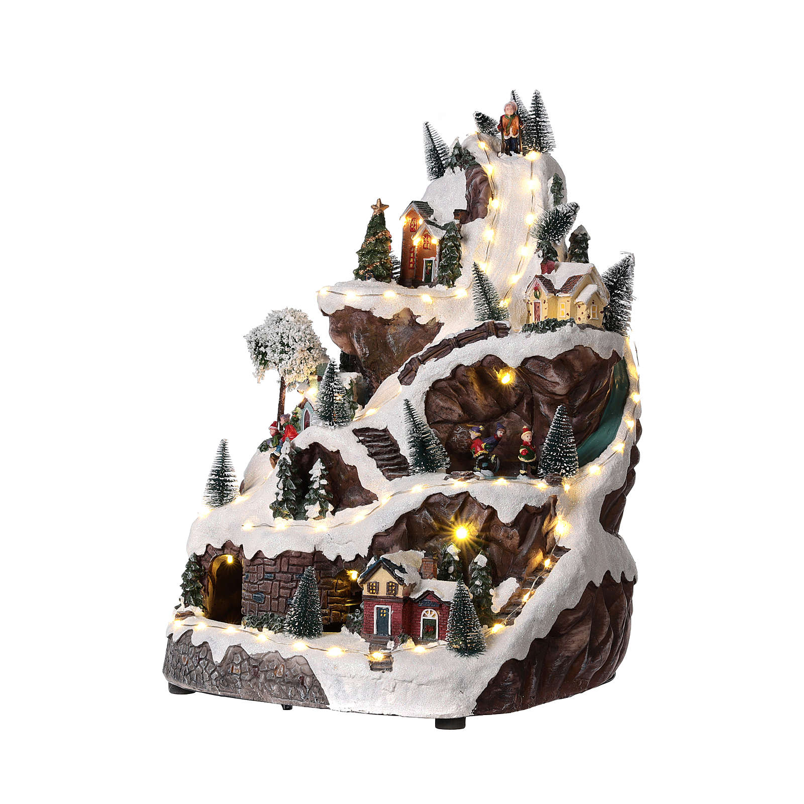 Christmas mountain village with lights and music 45x30x30 cm 3