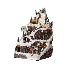 Christmas mountain village with lights and music 45x30x30 cm s3