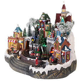 Animated Christmas village with train 35x45x35 cm s3