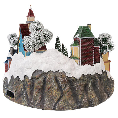 Animated Christmas village with train 35x45x35 cm 5