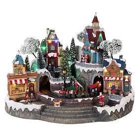 Villages de Noël miniatures: Décor Noël avec train en mouvement 35x45x35 cm