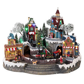 Animated Christmas village with train 35x45x35 cm s1