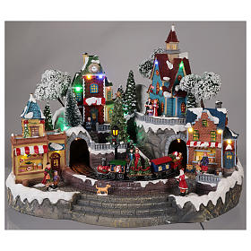 Animated Christmas village with train 35x45x35 cm s2