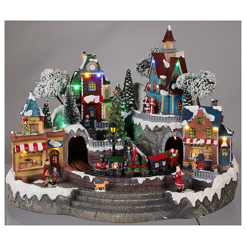 Animated Christmas village with train 35x45x35 cm 2