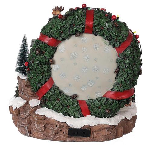 Pueblo de Navidad trineo reno teleférico movimiento luces música 30x30x30 cm 5