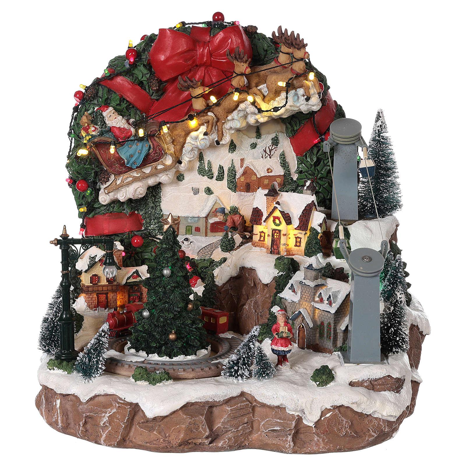 Villaggio di Natale slitta renna funivia movimento luci musica 30x30x30  3