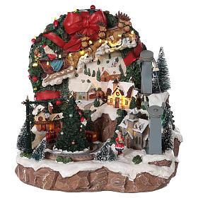 Villaggio di Natale slitta renna funivia movimento luci musica 30x30x30  s1