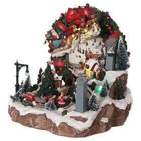 Christmas village reindeer sleigh cableway movement lights music 30x30x30 cm s3