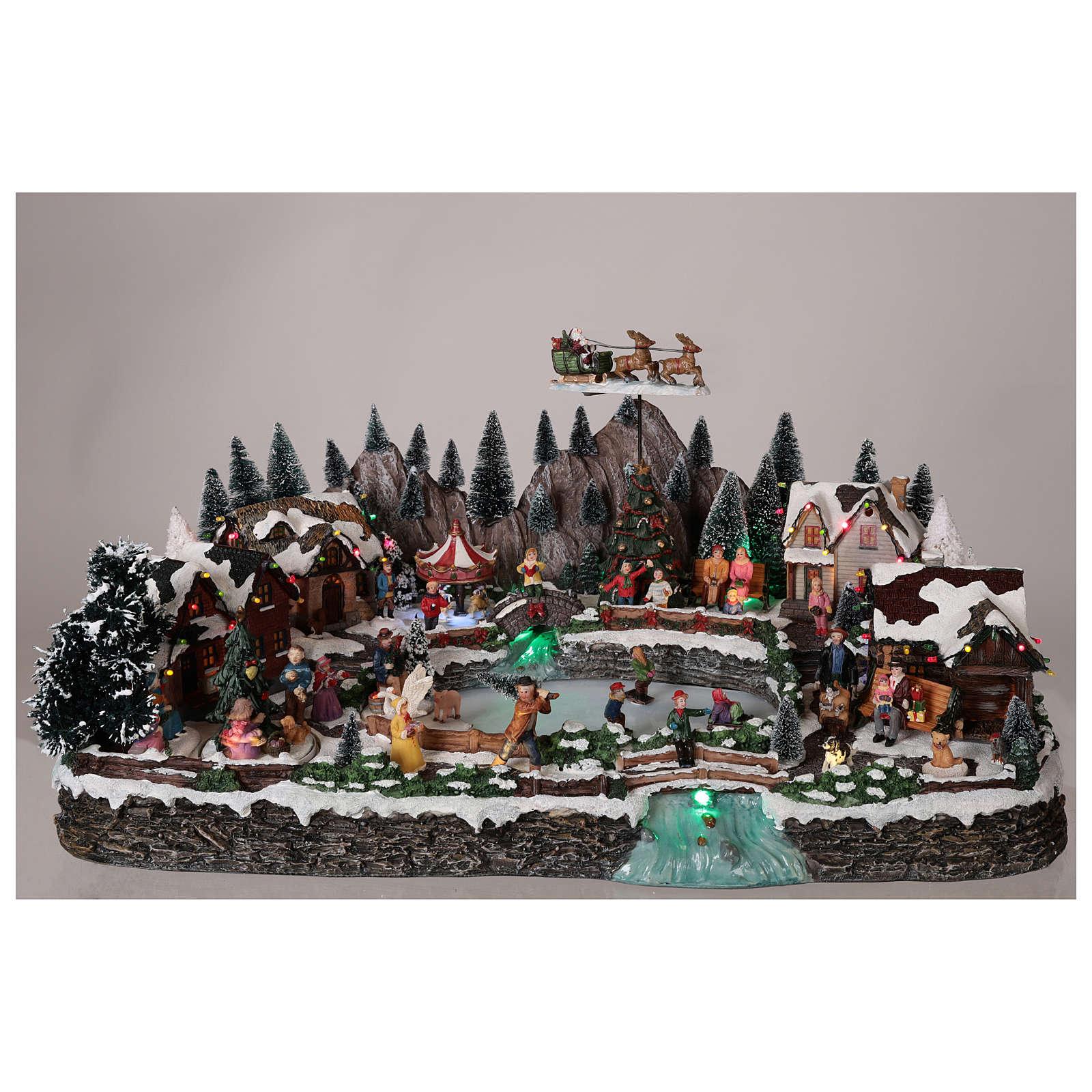 Pueblo navideño resina lago helado movimiento iluminación 35x65x40 cm 3