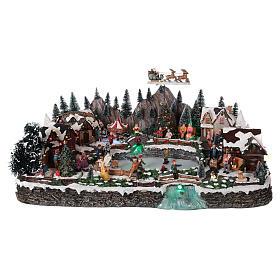 Cenários Natalinos em Miniatura: Cenário Natalino em miniatura com lago gelado movimento luzes 35x65x40 cm
