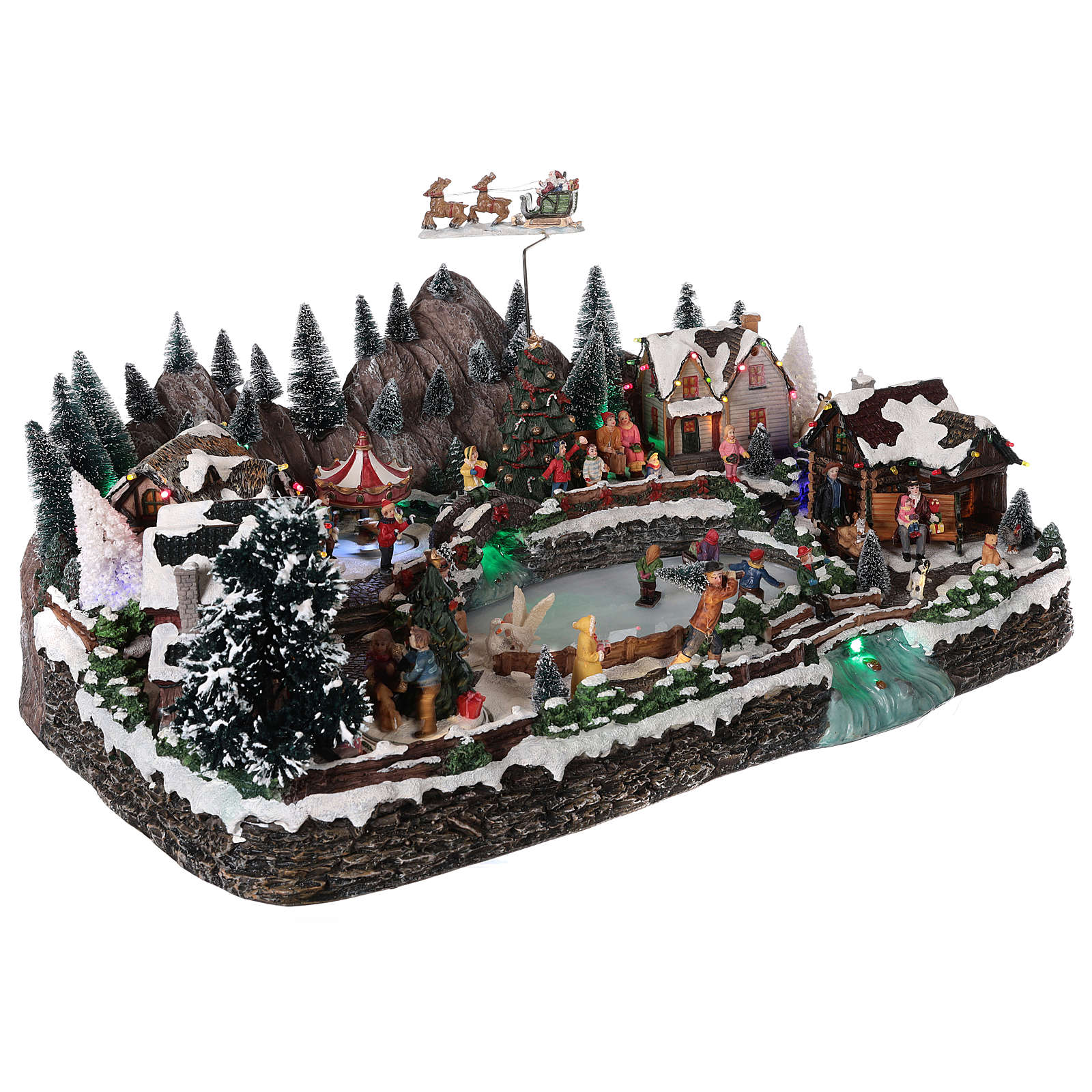 Winter village in resin iced lake movement lights 35x65x40 cm 3