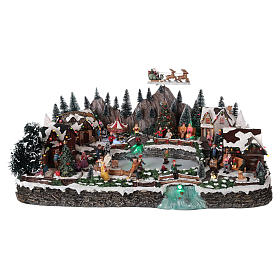 Winter village in resin iced lake movement lights 35x65x40 cm s1