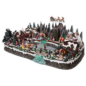 Winter village in resin iced lake movement lights 35x65x40 cm s3
