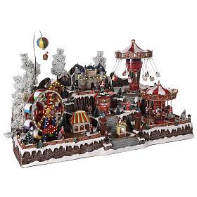 Pueblo navideño atracciones castillo movimiento luces 55x85x55 cm s4