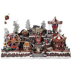Cenários Natalinos em Miniatura: Cenário Natalino em miniatura com castelo e brinquedos em movimento luzes 55x85x55 cm