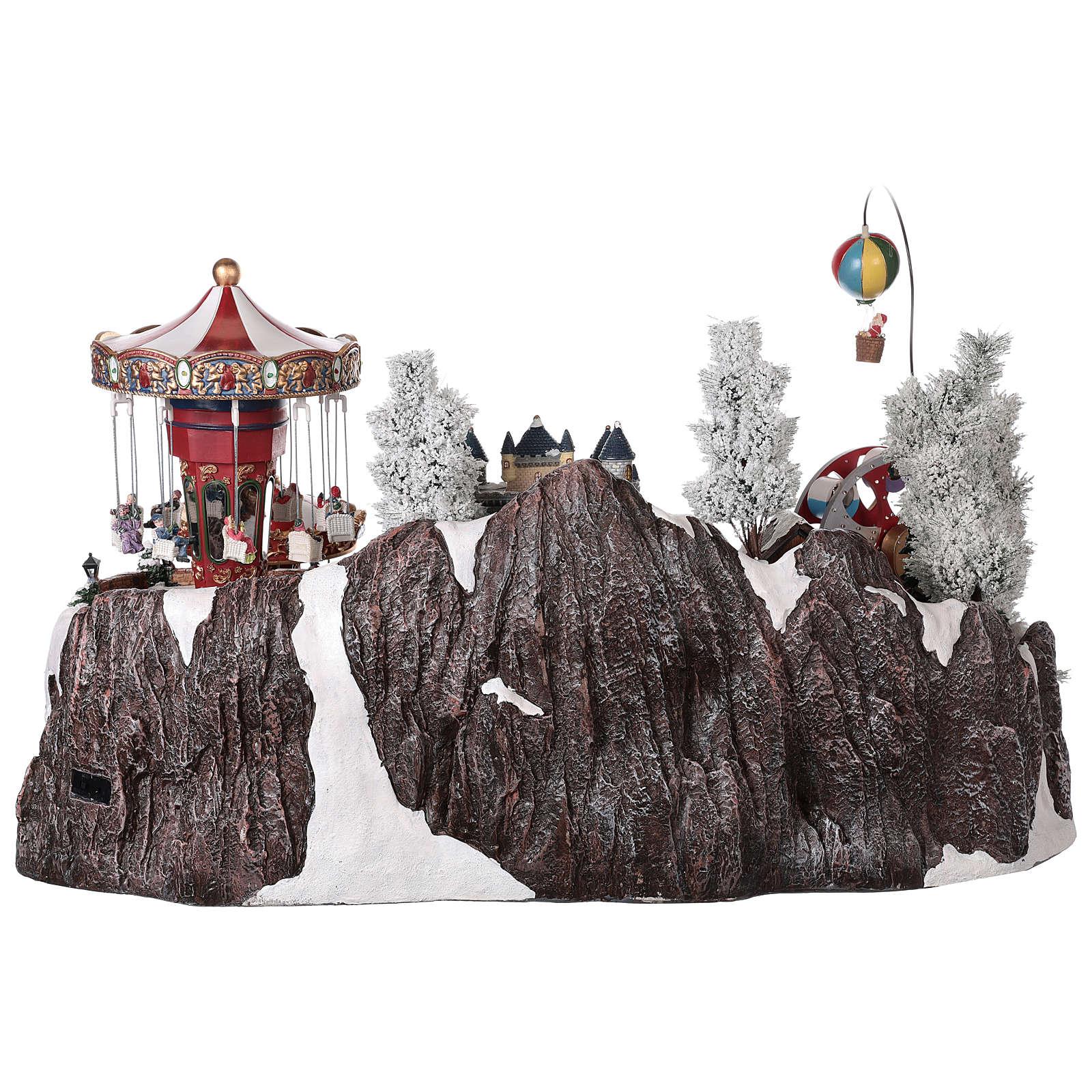 Winter amusement park village with carousel castle motion lights 55x85x55 cm 3