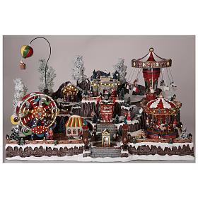 Winter amusement park village with carousel castle motion lights 55x85x55 cm s2