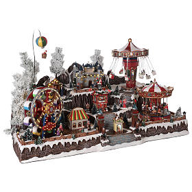 Winter amusement park village with carousel castle motion lights 55x85x55 cm s4