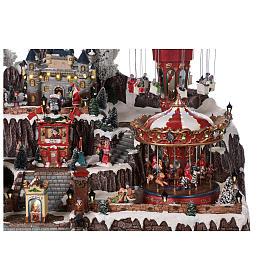 Winter amusement park village with carousel castle motion lights 55x85x55 cm s6