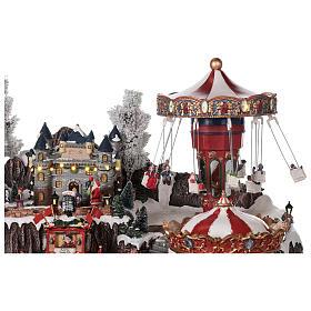 Winter amusement park village with carousel castle motion lights 55x85x55 cm s7