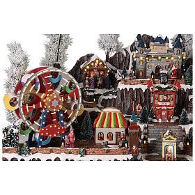 Winter amusement park village with carousel castle motion lights 55x85x55 cm s8