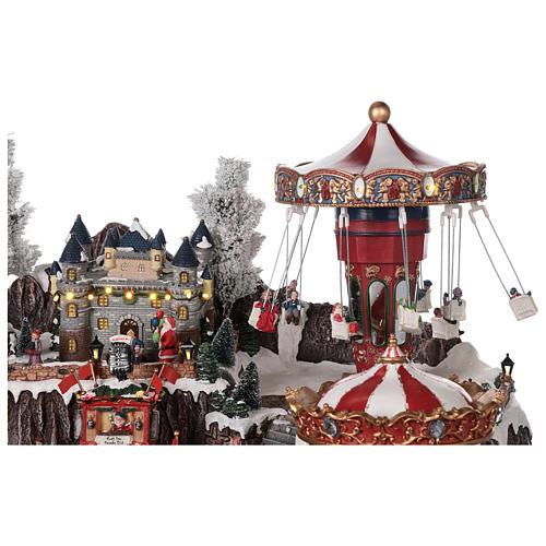 Winter amusement park village with carousel castle motion lights 55x85x55 cm 7