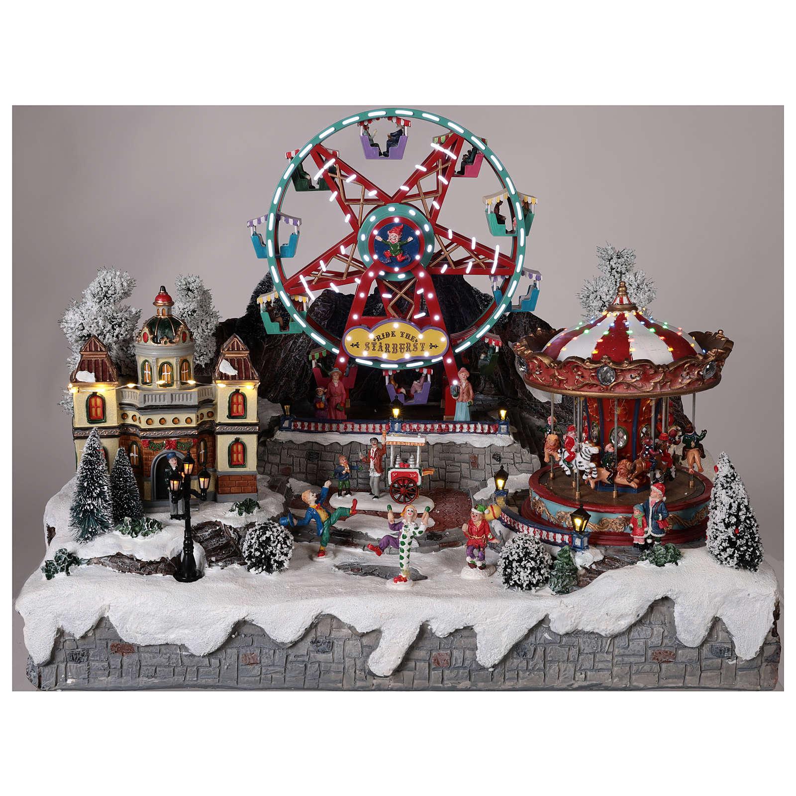 Pueblo navideño noria tiovivo movimiento luces 50x50x45 cm 3