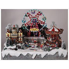 Village Noël roue panoramique manège mouvement lumières 50x50x45 cm s2