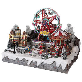 Village Noël roue panoramique manège mouvement lumières 50x50x45 cm s3