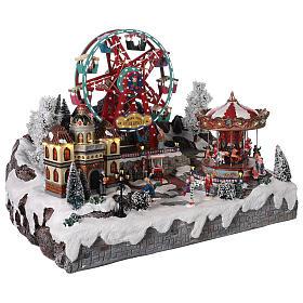 Village Noël roue panoramique manège mouvement lumières 50x50x45 cm s4