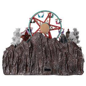 Village Noël roue panoramique manège mouvement lumières 50x50x45 cm s5