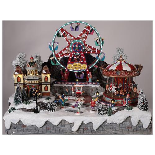 Village Noël roue panoramique manège mouvement lumières 50x50x45 cm 2
