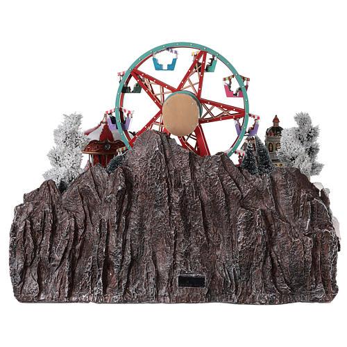 Village Noël roue panoramique manège mouvement lumières 50x50x45 cm 5
