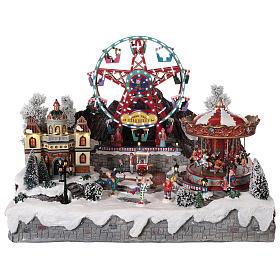 Cenários Natalinos em Miniatura: Cenário Natalino em miniatura com roda gigante e carrossel em movimento luzes 50x50x45 cm