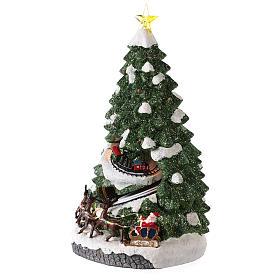 Árbol Navidad con tren en movimiento 40x20x20 cm s3