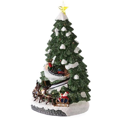 Árbol Navidad con tren en movimiento 40x20x20 cm 3