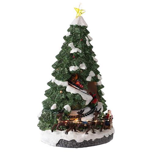 Árbol Navidad con tren en movimiento 40x20x20 cm 4