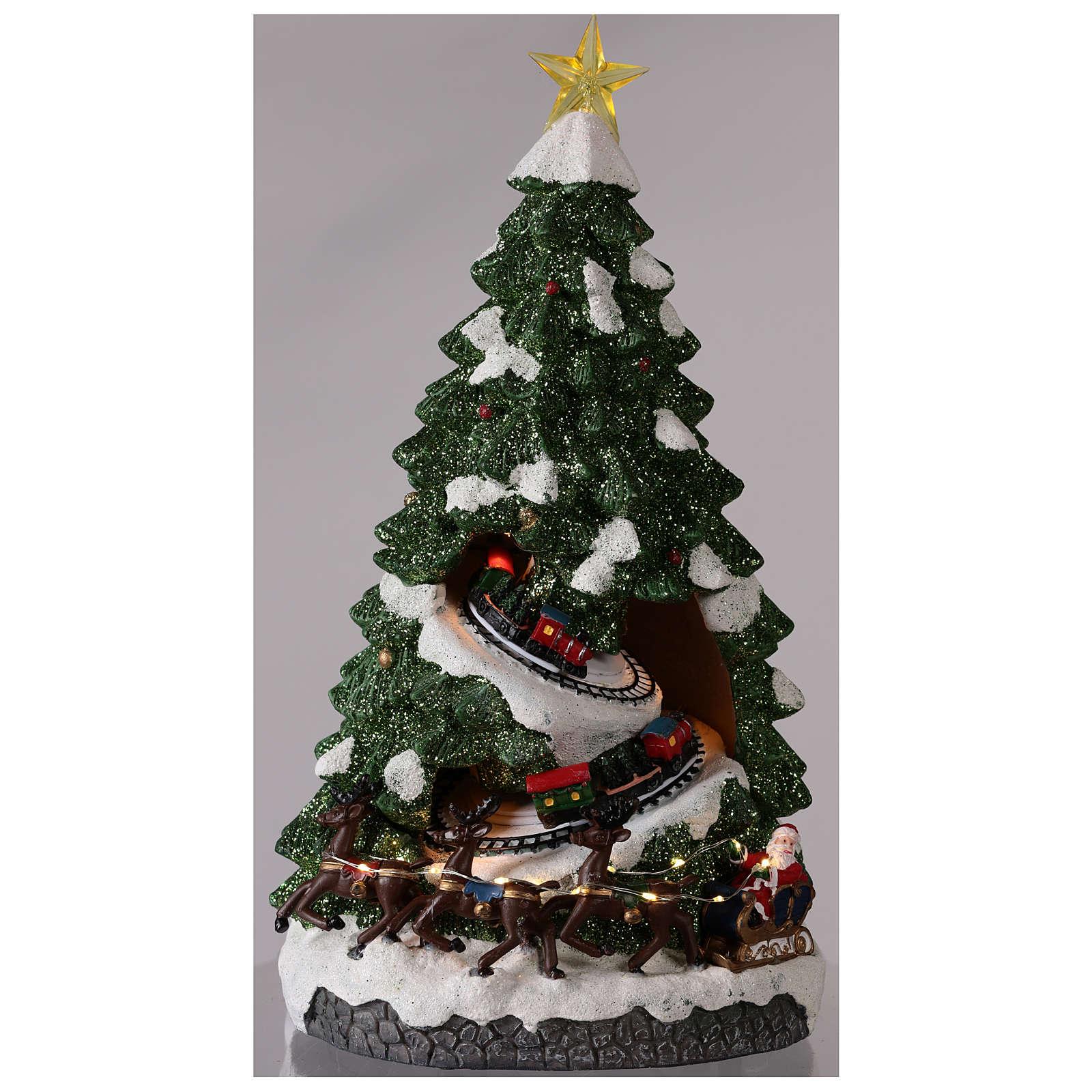 Sapin Noël avec train en mouvement 40x20x20 cm 3