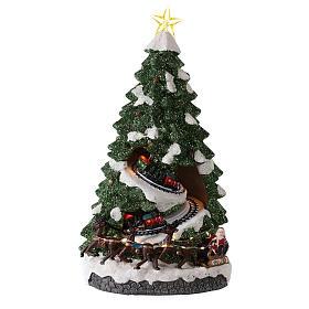 Villages de Noël miniatures: Sapin Noël avec train en mouvement 40x20x20 cm