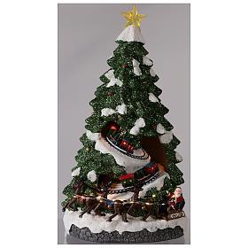 Sapin Noël avec train en mouvement 40x20x20 cm s2