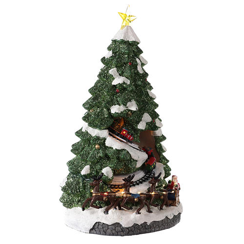 Sapin Noël avec train en mouvement 40x20x20 cm 4
