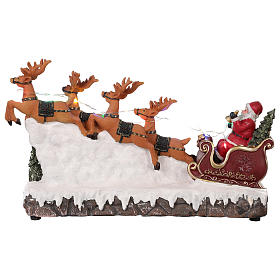 Christmas village Santa's sleigh with lights and music 25x40x10 cm s5