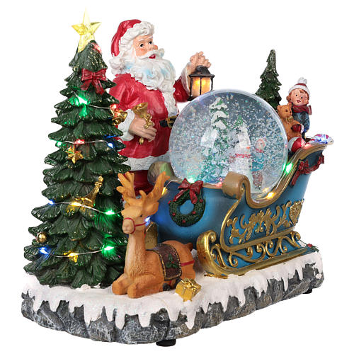 Trineo Papá Noel esfera nevada movimiento luz música 25x30x20 4