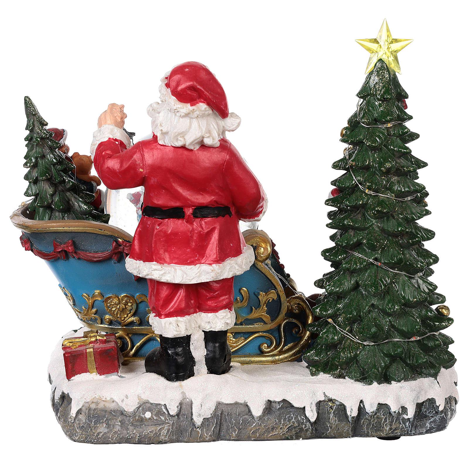 Traîneau Père Noël boule à neige mouvement lumières musique 25x30x20 cm 3