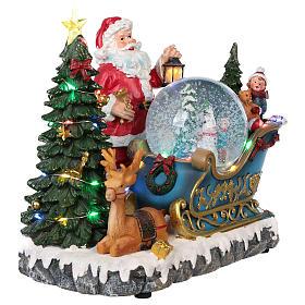 Traîneau Père Noël boule à neige mouvement lumières musique 25x30x20 cm s4
